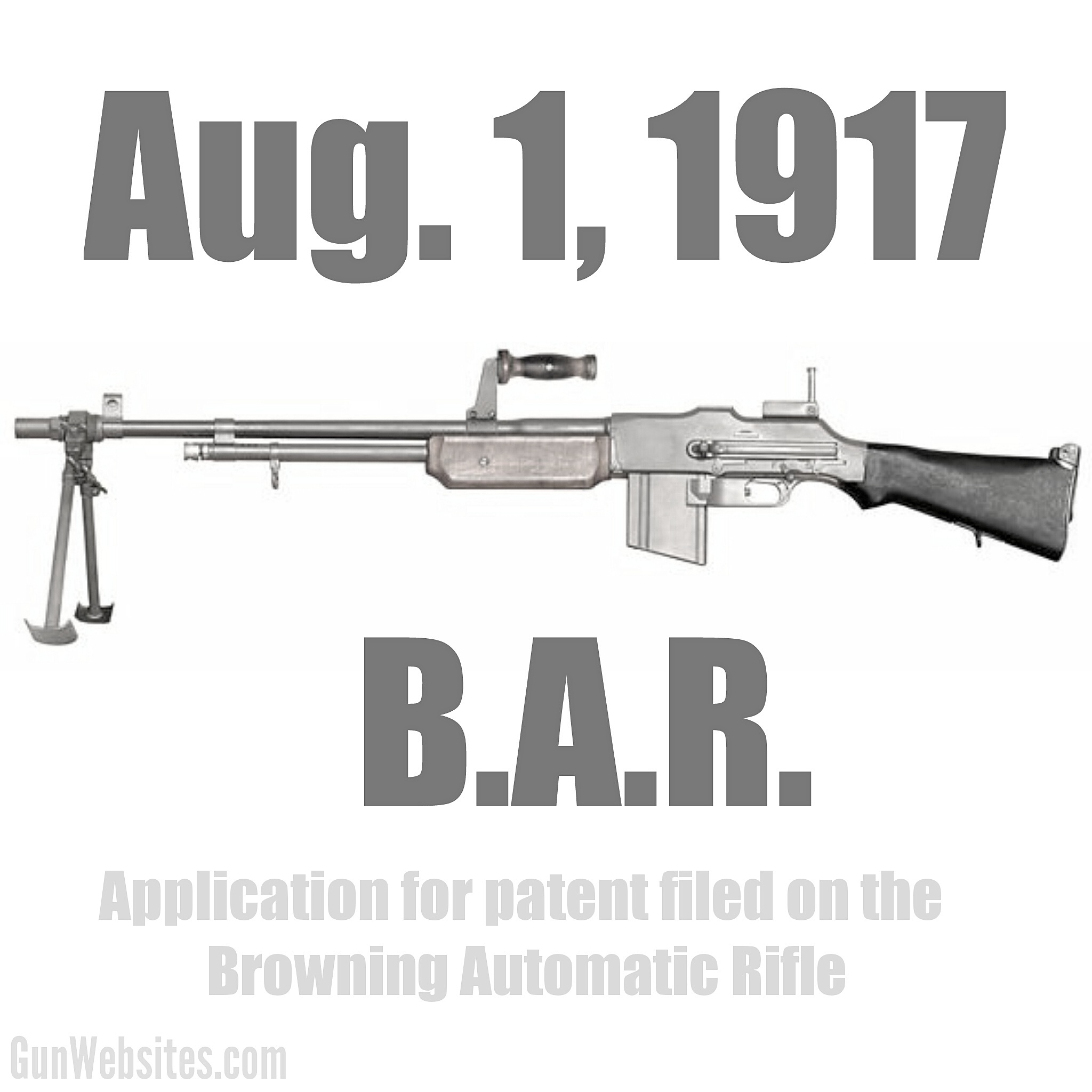 Application for patent filed on the Browning Automatic Rifle. The B.A.R. first saw combat in 1918.